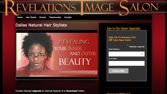 custom websites - hair salon